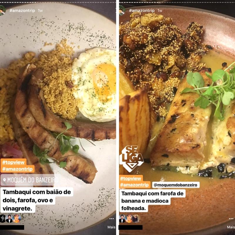 Prato principal 1 - Tambaqui com baião de dois, farofa, ovo e vinagrete e prato principal 2 - Tambaqui com farofa de banana e mandioca folheada (Fotos: Marcus Yabe e Pedro Silveira)