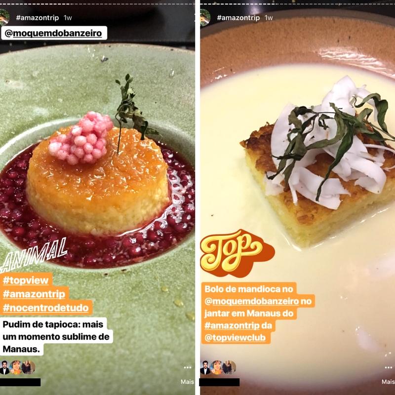 Sobremesa 1 - Pudim de tapioca e sobremesa 2 - Bolo de mandioca (Fotos: Marcus Yabe e Pedro Silveira)